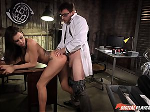 black-haired Peta Jensen bashed in the lab