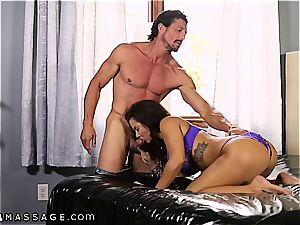 large breasted Keisha Grey knows how to treat 2 stiffys at a time