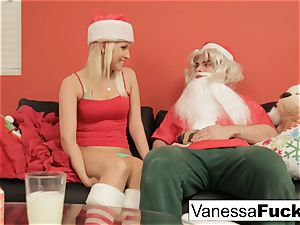 Vanessa letting Santa penetrate her tight humid pussy