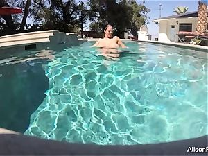 bodacious Alison swims and wanks in the pool