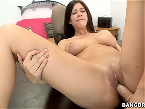 Karina milky strips down and gets plowed