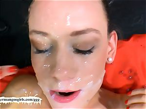 wonderful Lana gets her pretty face jism decorated - GGG