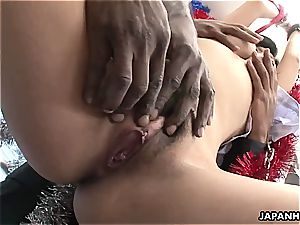 mega-bitch shrieks as she gets to be toyed by the black fellas