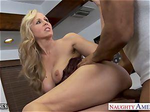towheaded schoolteacher Julia Ann ravaging a big black cock