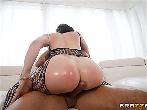 lubing up the muff of Chanel Preston and stretching her out