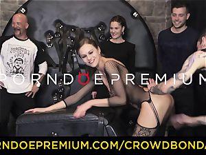 CROWD bondage - extraordinary bdsm penetrate wheel with Tina Kay
