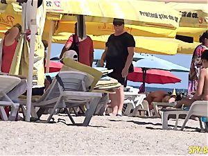 steaming Amateurs bra-less hidden cam Beach - fantastic giant mounds babes