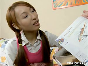 japanese red-haired banged in the backside