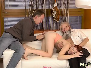 young mega-bitch with elder pulverize first time unexpected practice with an elderly gentleman