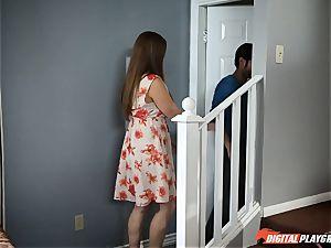 Jade Nile jerks as she hears Scarlet red penetrating nextdoor