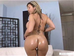 Oiled-Up platinum-blonde mummy Sara Jay fuckin' dark-hued spear