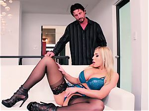 super-fucking-hot huge-chested blondie gets her muff inserted by Tommy Gun's spear