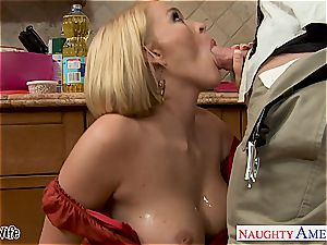 huge-boobed wifey Krissy Lynn munching cum in the kitchen