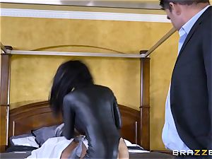 raunchy in rubber Romi Rain gets humped by trio super-fucking-hot weenies