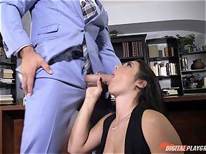Eva Lovia slurps on stiff big trouser snake