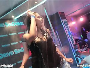 Fornication on the porno party in nightclub