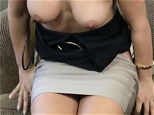 Eva Lovia pumping her vulva with a glass dildo