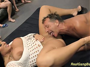 huge-chested ashley cum in real group sex