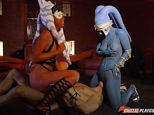 Aliens Eva Lovia and Aria Alexander take on rock hard spunk-pump