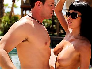 Anissa Kate unclothe her bathing suit to fuck poolside