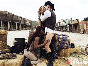 black cowgirl Jasmine Webb and blondie Jessa Rhodes takes cowboy boner