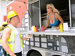 Truck pulverizing platinum-blonde sweetie Bridgette B