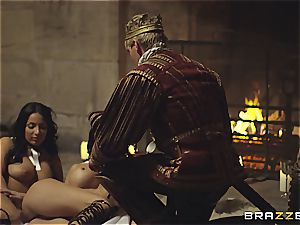 Alluring Anissa Kate and Jasmine Jae conform the king's will and beef whistle